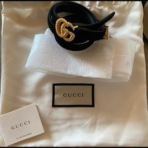 Gucci Suede belt with torchon Double G buckle